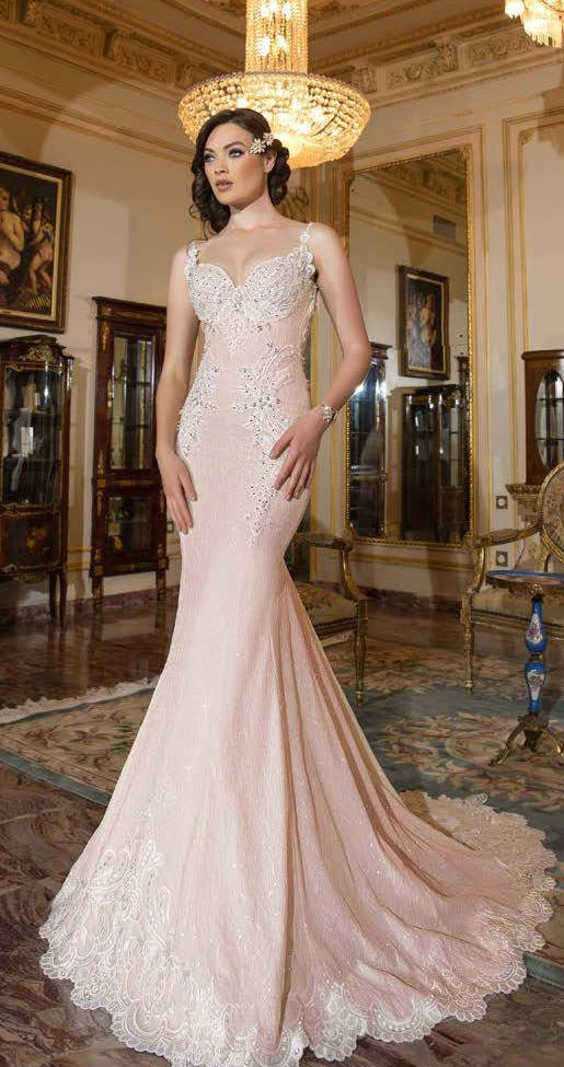 Jewel Embellished Blush Fit-and-Flare Wedding Dress | Gowns in Hue ...
