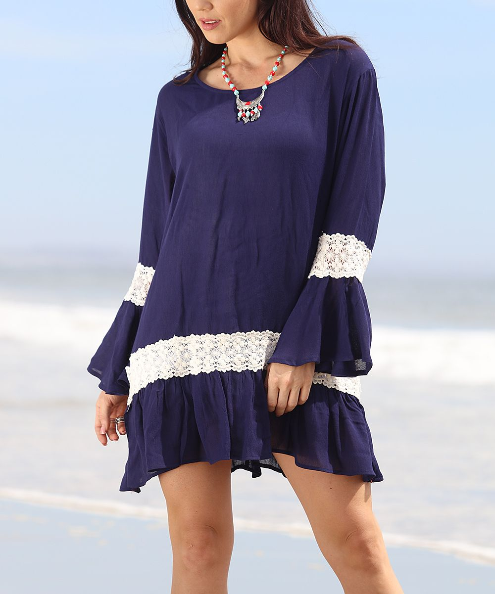 Navy & White Crochet-Accent Swing Dress - Plus
