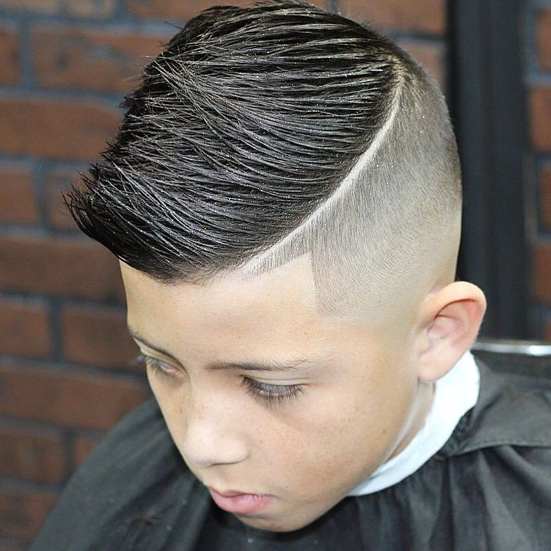 Captivating Spiky Comb Over + Hard Part Hairstyle For Boys