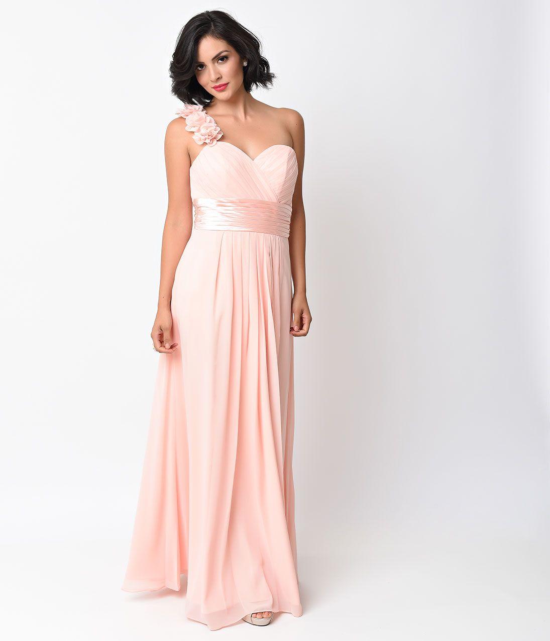 Blush chiffon floral cold shoulder long gown cold shoulder gowns