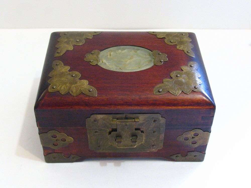 Vintage Rosewood Shanghai China Brass Inlaid Carved Jade Jewelry Box