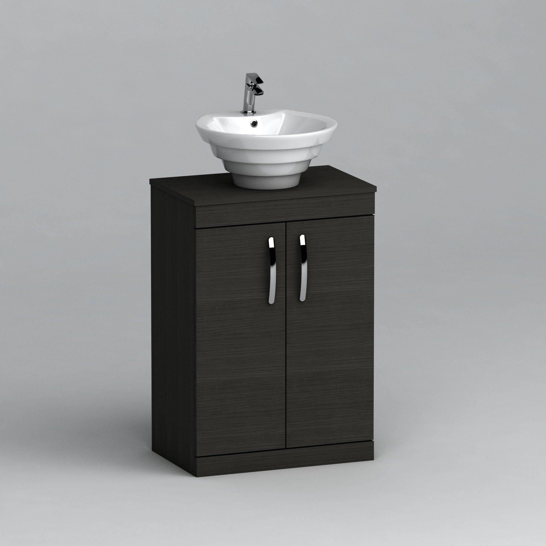 500mm Floor Standing Vanity Unit 2 Door Hale Black & Countertop Basin - Cesar#500mm #basin #black #cesar #countertop #door #floor #hale #standing #unit #vanity