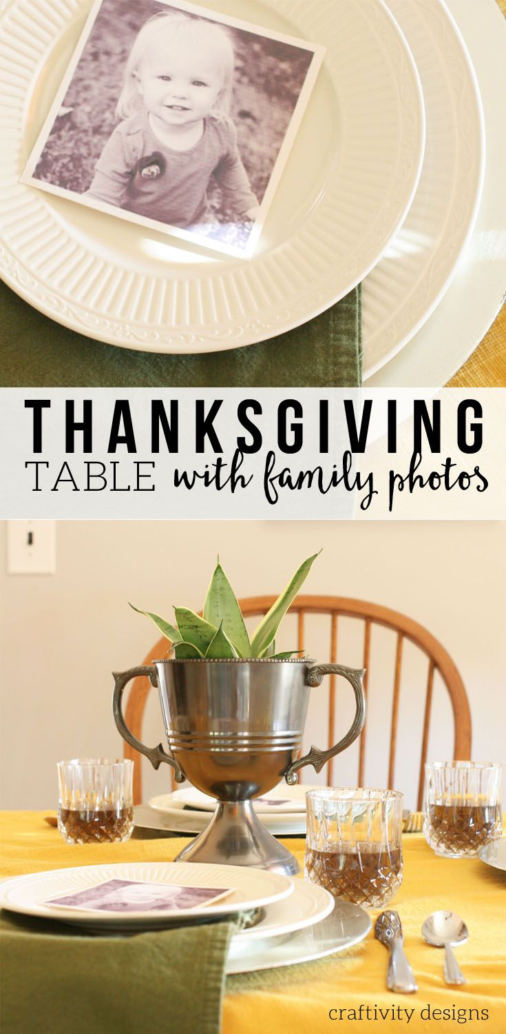 A Thanksgiving Table Setting with Family Photos Thanksgiving Tablescape Thanksgiving Table Decor Ideas by : table settings for thanksgiving ideas - pezcame.com