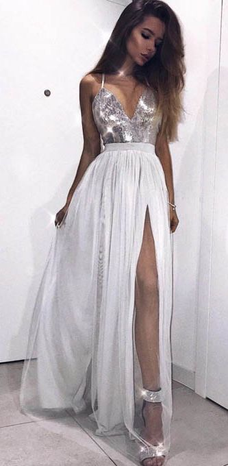 silver formal dress