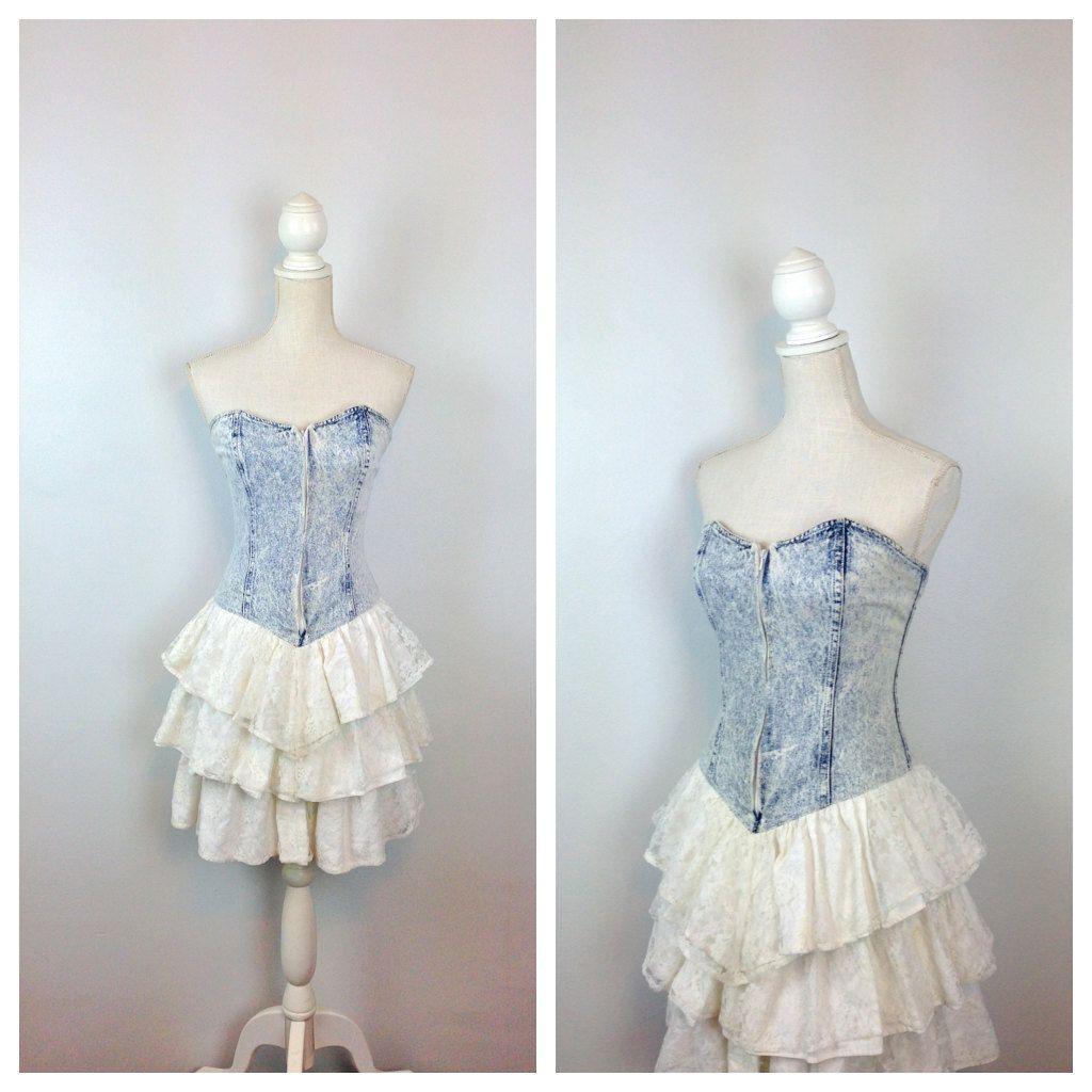 S acid wash sweetheart corset dress full by motherofvintage