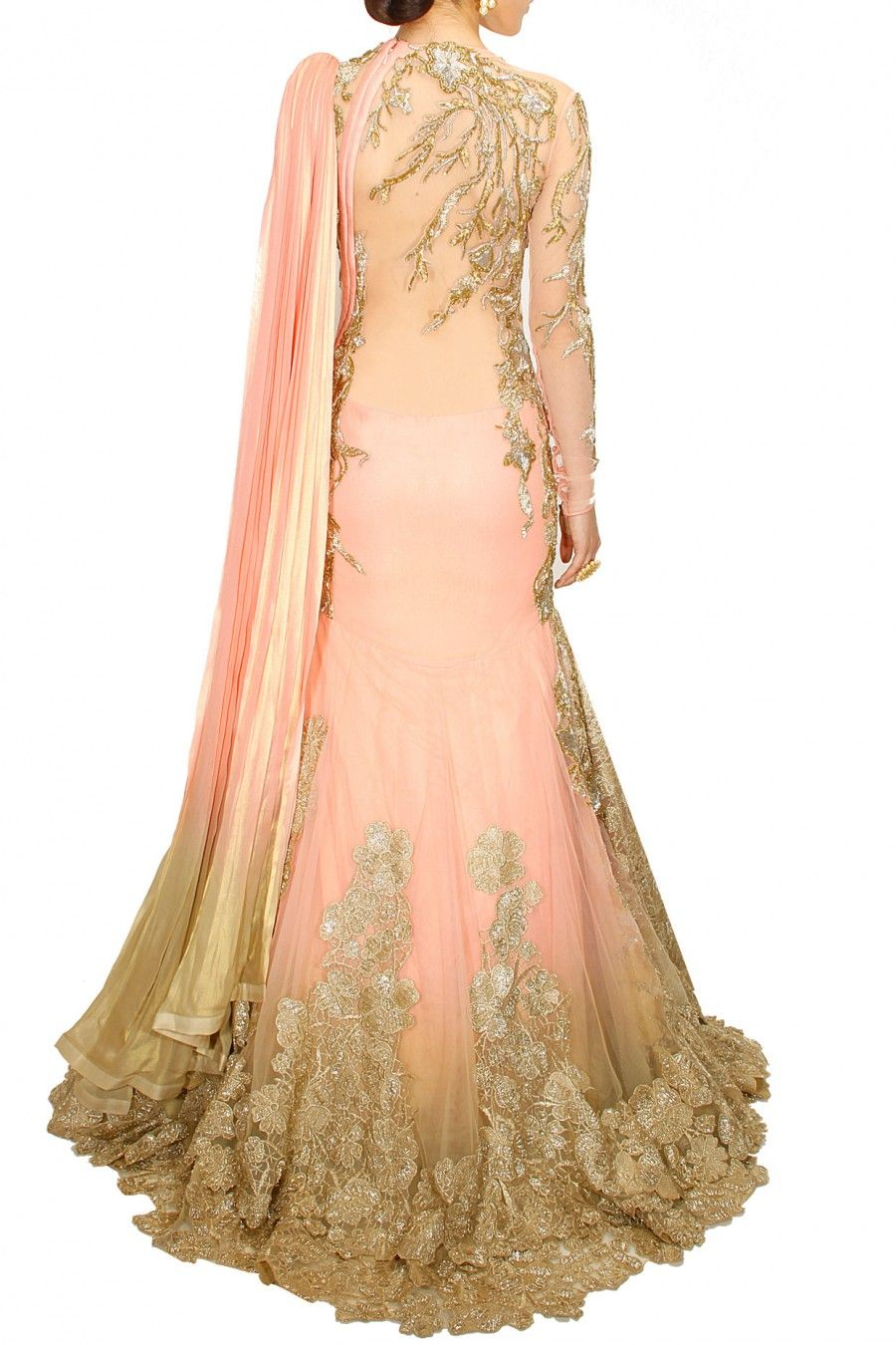 Peachy pink embroidered lehenga sari available only at perniaus pop