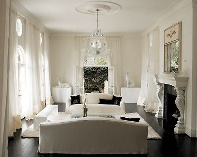 modern french monochromatic living room design with black wood