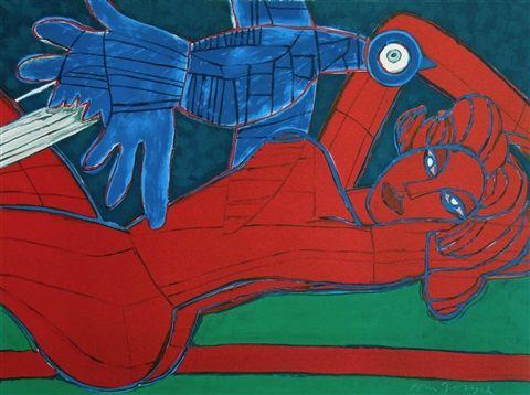 Nu Rouge a L'oiseau by Corneille