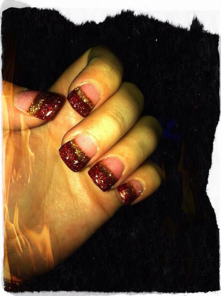 Red and Gold Acrylic Nails -wide nail bed- {Exotic Nails} | Nails by ...
