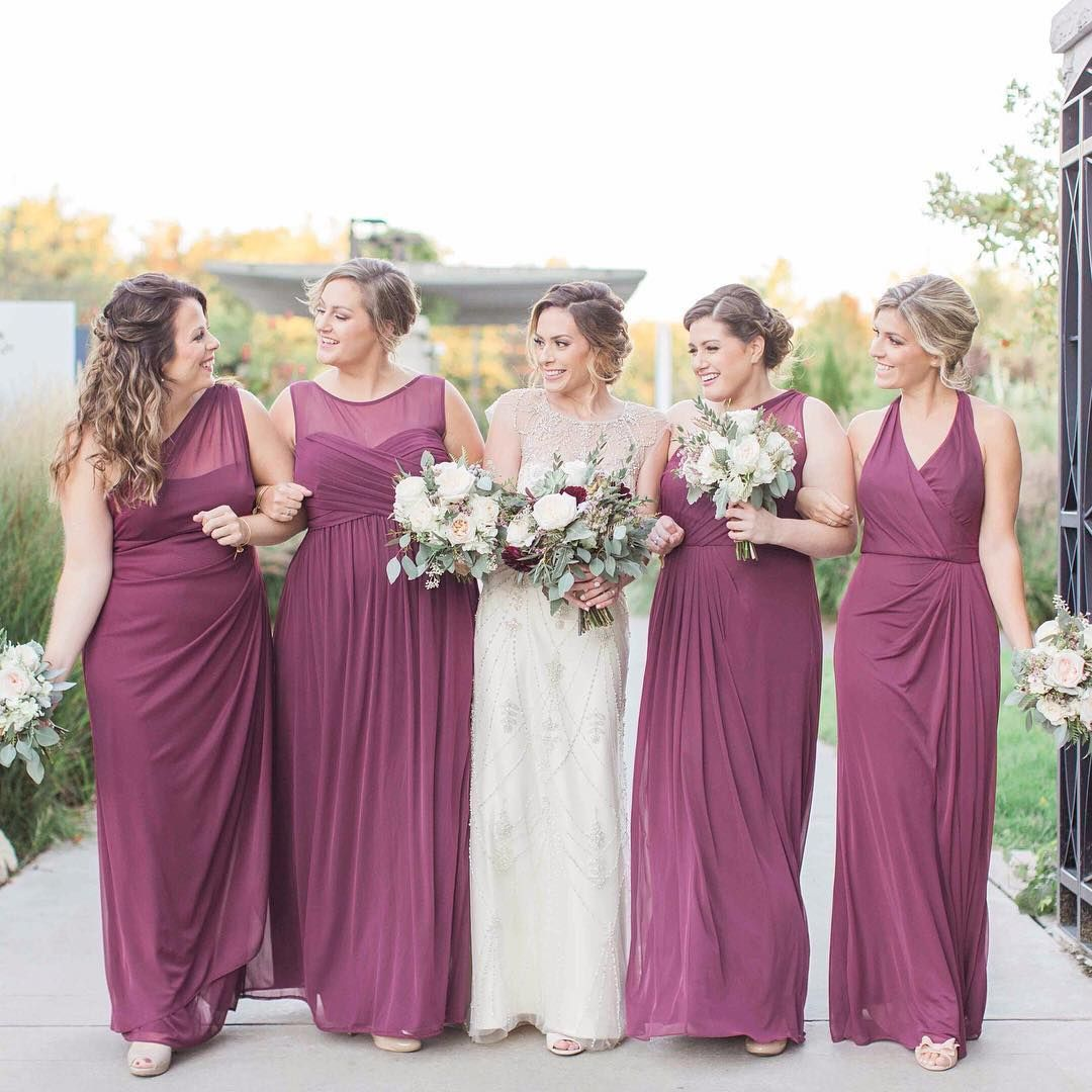 David's Bridal bridesmaids in mismatched long burgundy