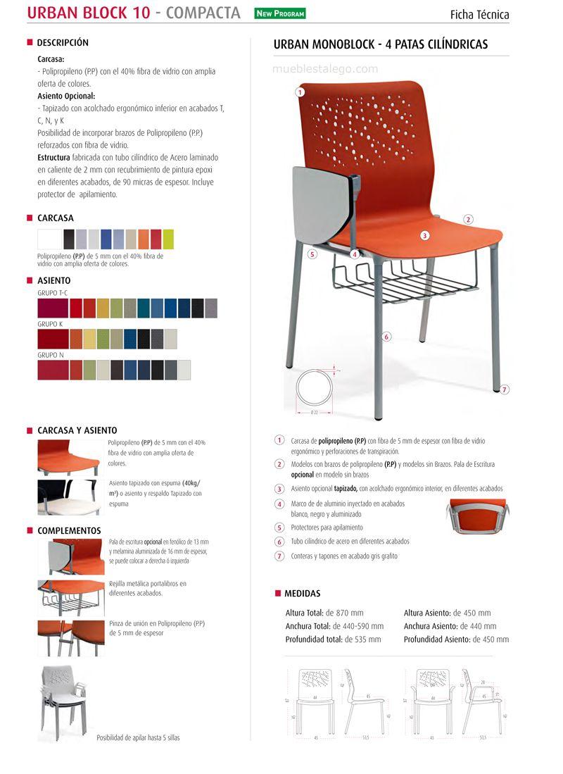 ficha tecnica de silla de colectiva para diversos usos