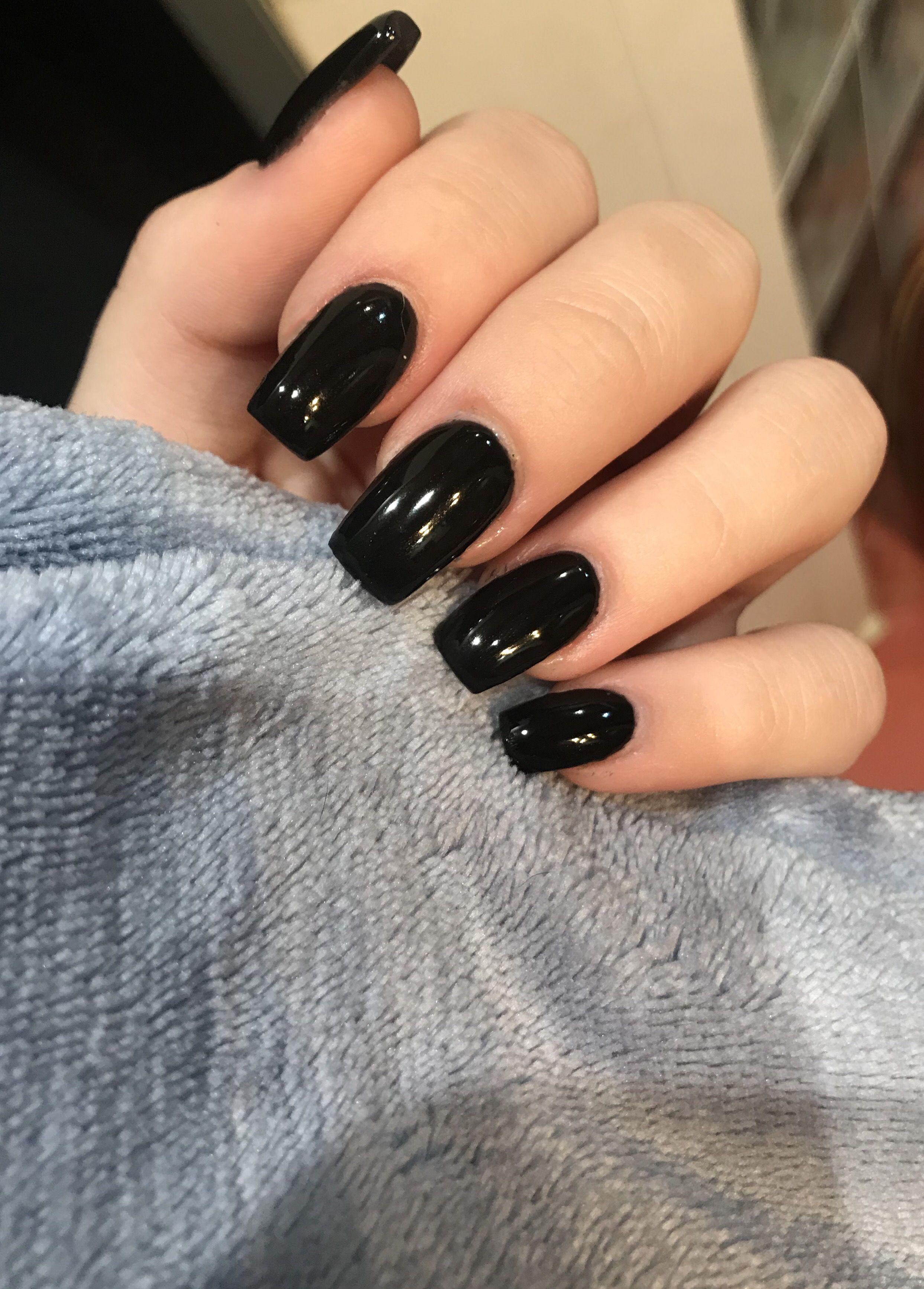 Nails Black Blacknails Love Square Acrylic Nails Short Acrylic Nails Black Nails