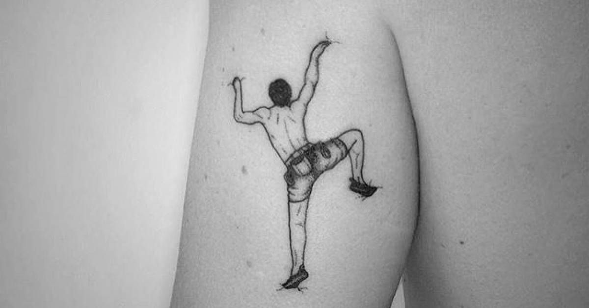 Artista Tatuador: Violeta Arús. Tags: estilos, Fine line, Profesiones, Escaladores. Partes del cuerpo: Triceps.