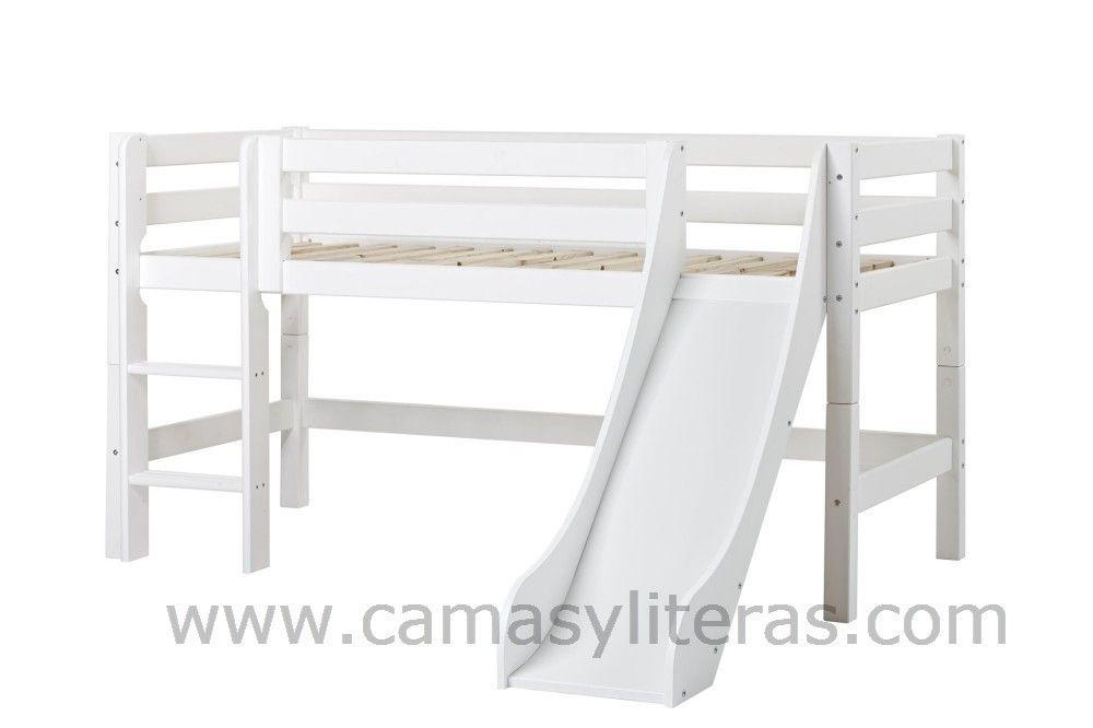 Cama Semialta Con Tobogán Holly Camas Banco Blanco Tamaños De Cama