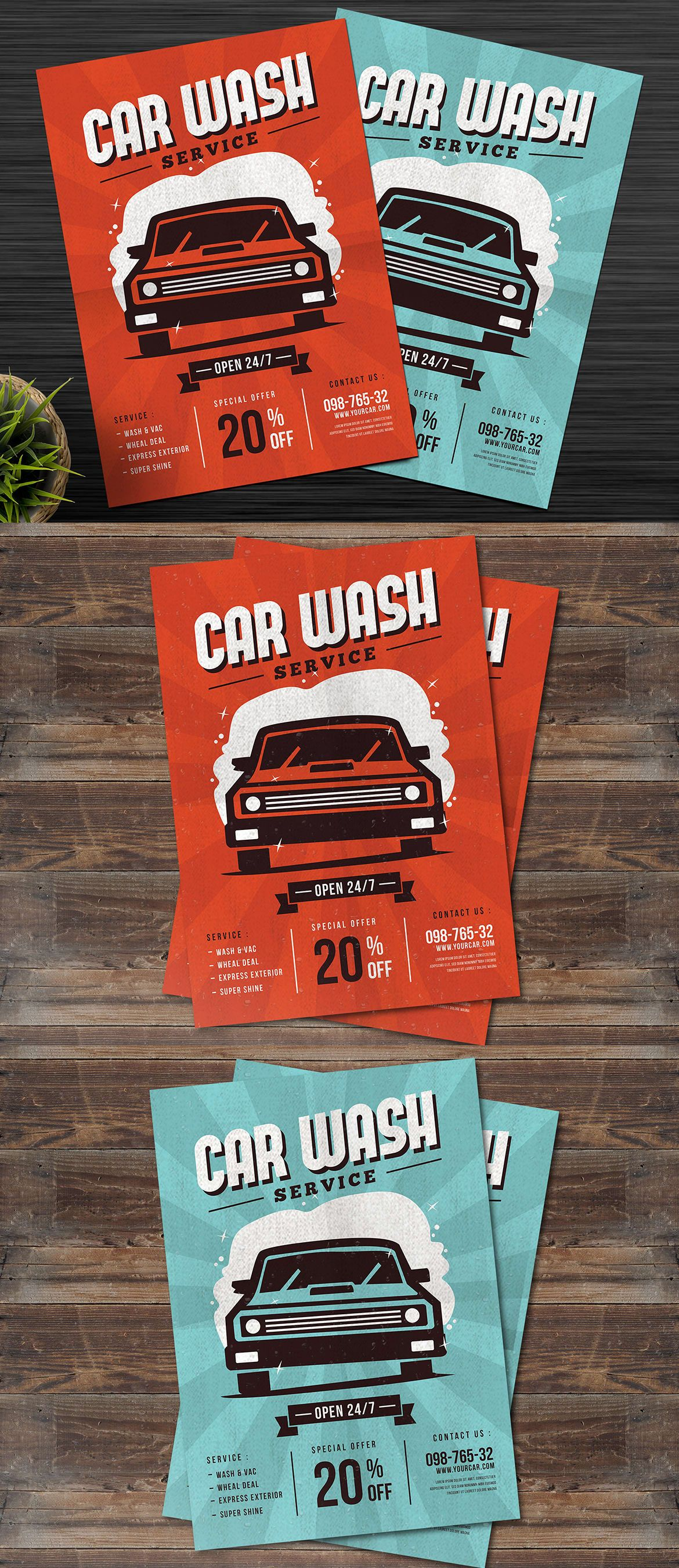 Car Wash Service Flyer Template AI, PSD