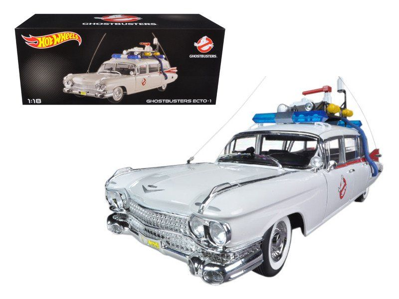"1959 Cadillac Ambulance Ecto-1 From \Ghostbusters 1"" Movie 1/18 Diecast Car Model by Hotwheels"""