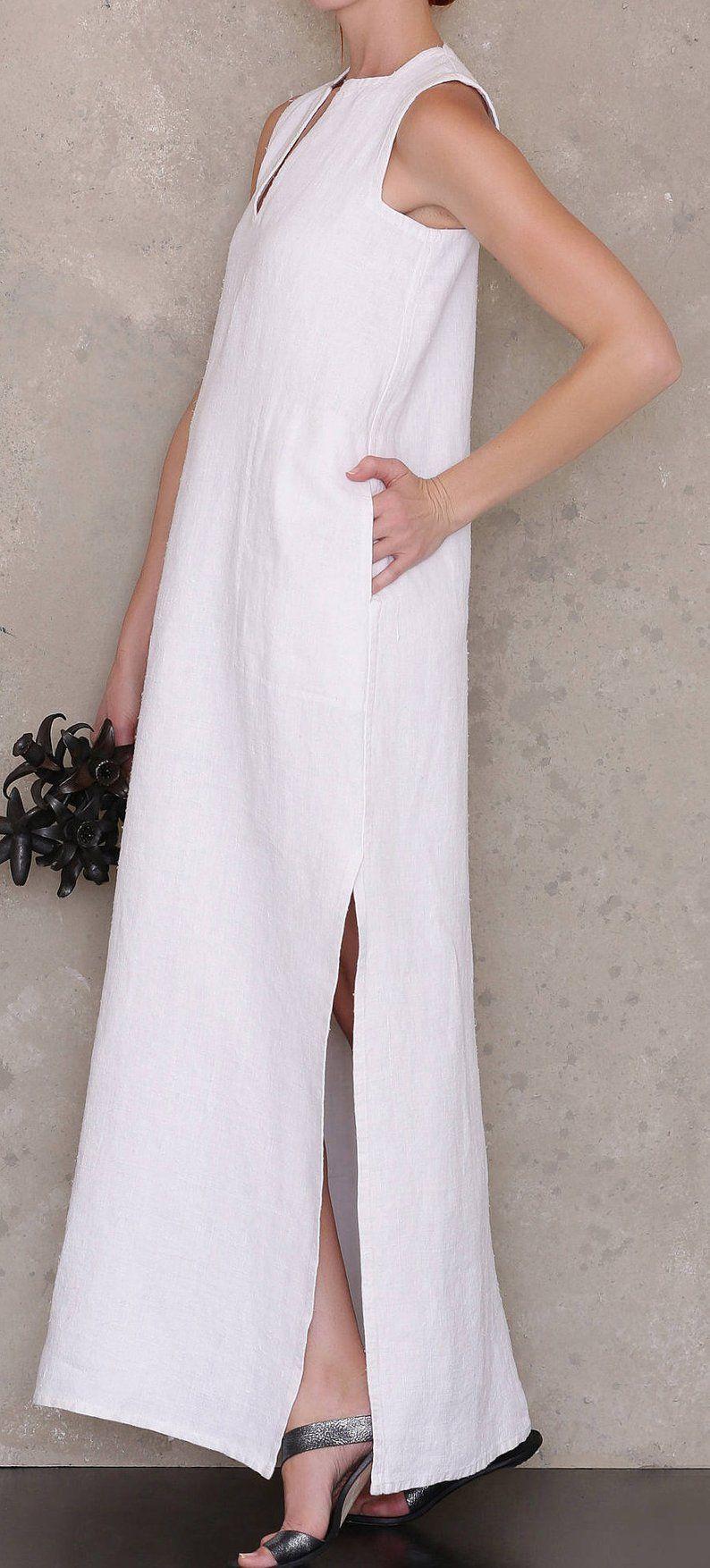 Caftan maxi dress summer linen dress pattern, PDF sewing