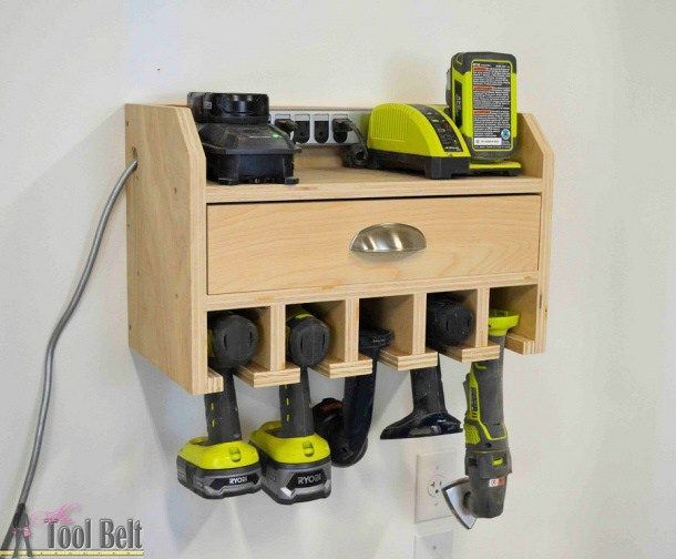 A do it yourself fathers day diy gift projects recipes and ideas do it yourself project diy cordless drill storage and charging station with free plans via her toolbelt solutioingenieria Gallery
