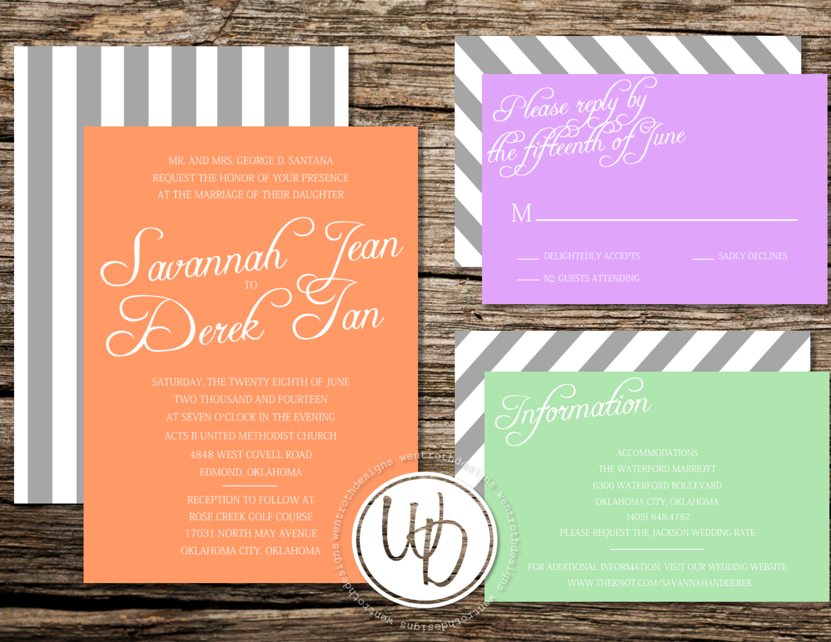 Spring sherbet colored striped wedding invitation set by