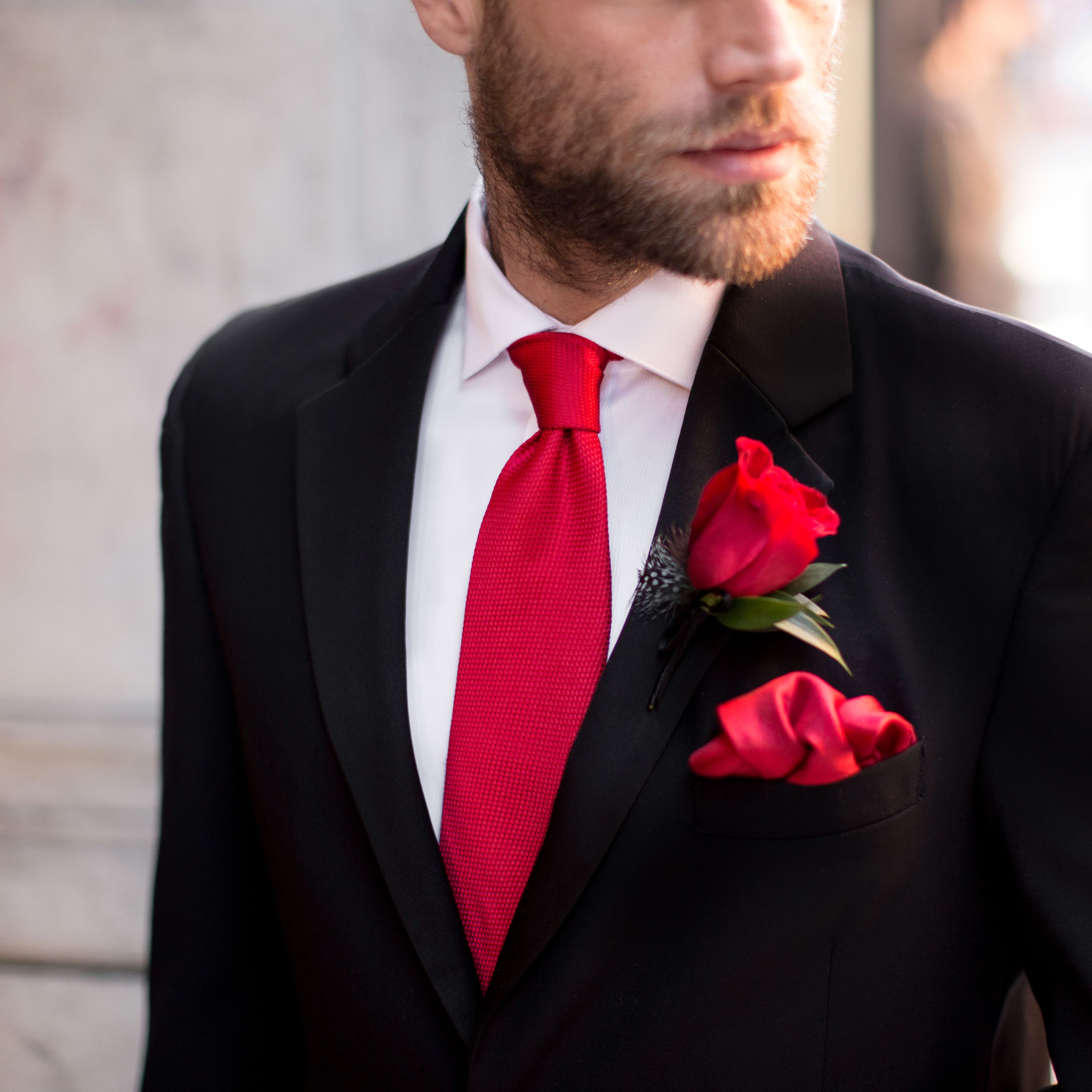 Style Tip Trim Your Classic Black Tuxedo With Romantic Pops Of Red Ties And Boutonnieres For Ultimate Elega Red Wedding Black Tuxedo Wedding Black And Red Tux