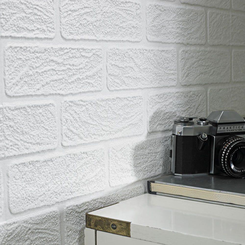 Superfresco Brick Textured Vinyl White Wallpaper 93744 White Brick Wallpaper Brick Effect Wallpaper Brick Wallpaper