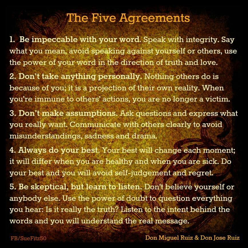 5 Agreements Things To Ponder Pinterest Recovery