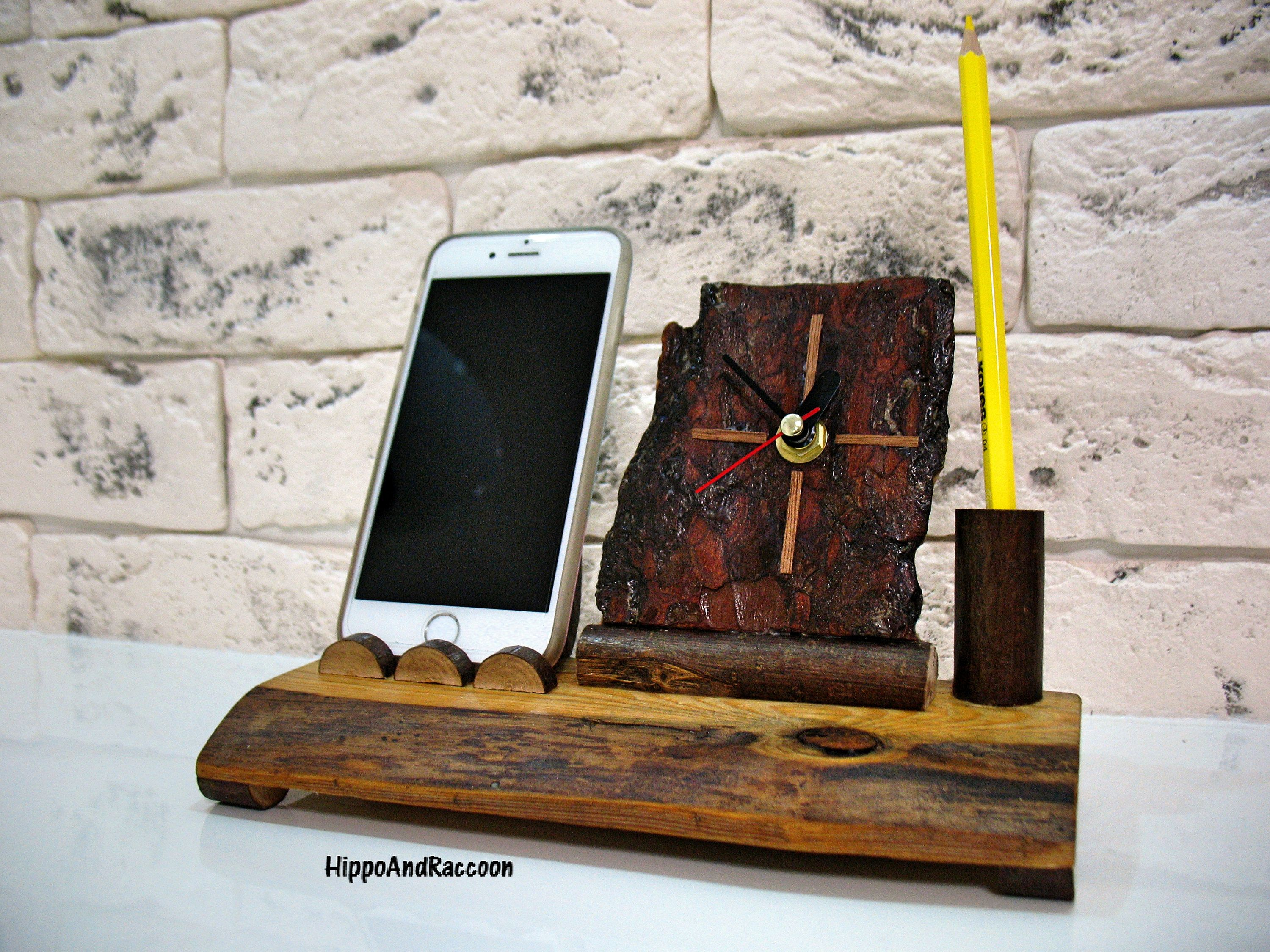 Docking Station   Desk Wood Clock   Wood Iphone Dock Station   Desk  Organizer   Pen Holder With Clock   Unique Wood Clock