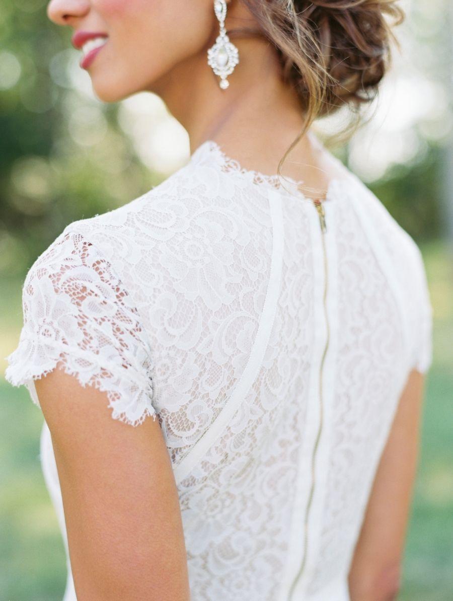 Modern Woodland Wedding Inspiration High Neck Wedding Dress Short Sleeve Wedding Dress Short Wedding Dress [ 1194 x 900 Pixel ]