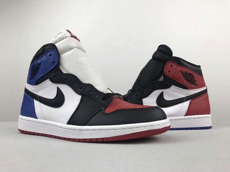 Cheap Men Nike Air Jordan 1 Retro High Black Blue Red White For Sale ... 318eec27b9cc