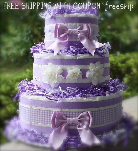How To Make Baby Shower Diaper Cake: Diaper Cake Purple, Cute Bows. Diaper Cake For A Baby Girl