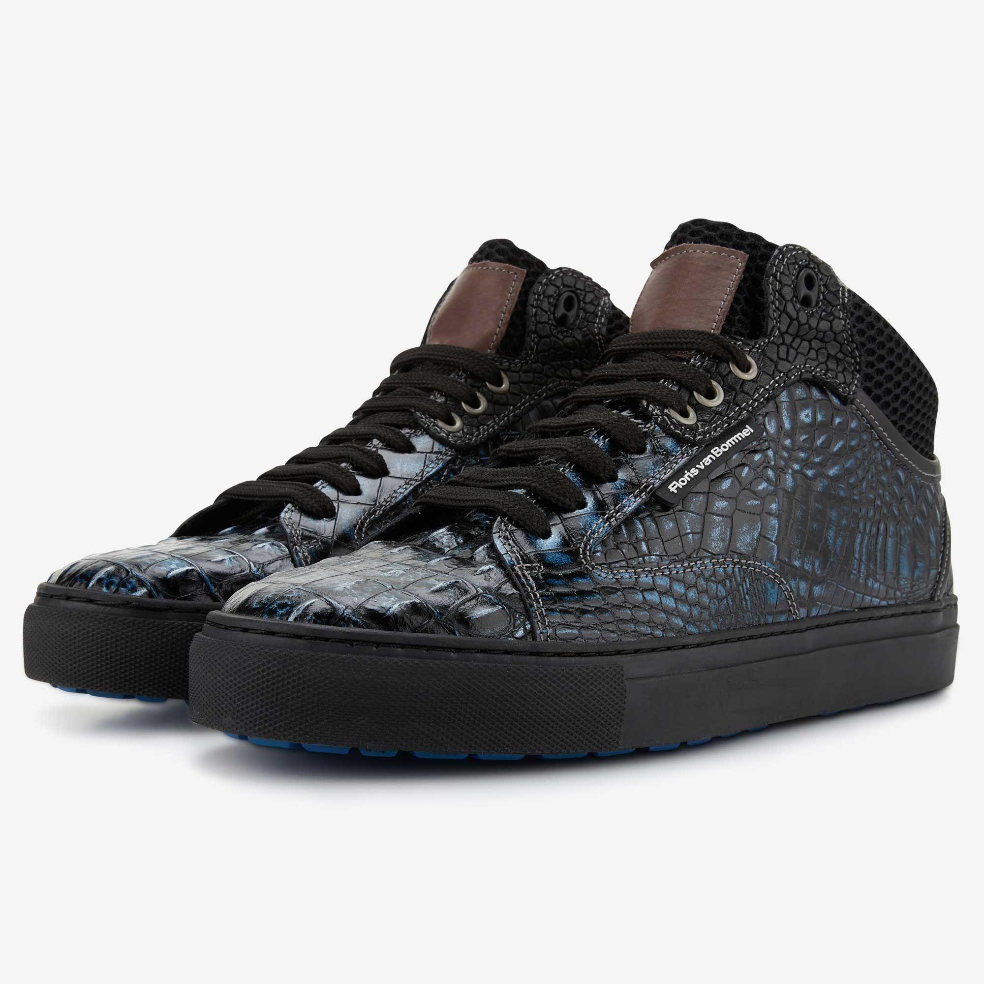 Blue metallic men s sneaker with crocodile print 10864 02 Floris van Bommel bcab3a4a9