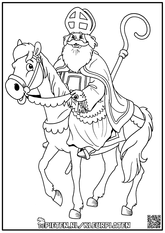 Kleurplaten Sinterklaas Op Paard Amerigo En Staf Goede Kwaliteit Afbeelding In Link Kleurplaten Sinterklaas Paarden