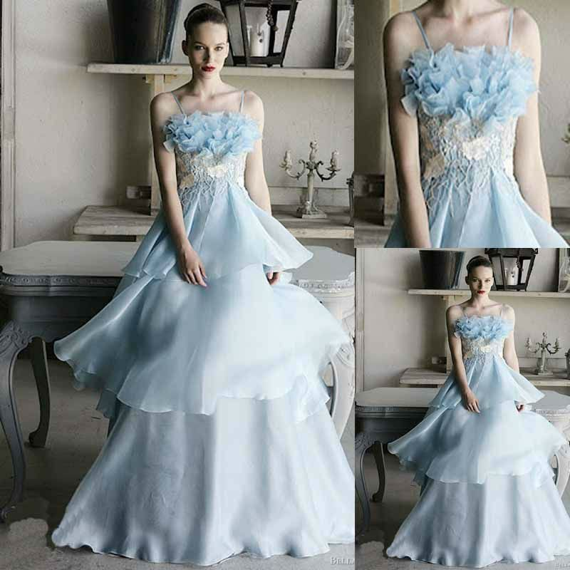 Silver Wedding Dress Ideas : A line organza ice blue wedding. wedding attire pinterest