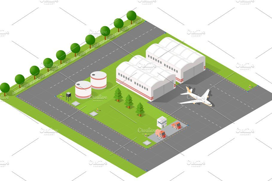 Isometric set terminal airport in 2020 Business design