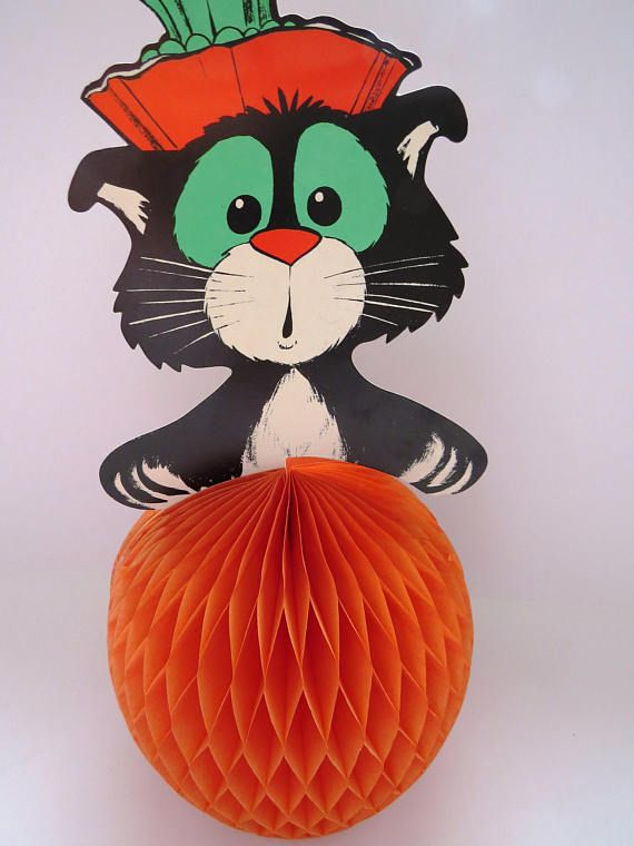 Vintage Halloween Decoration - Black Cat Honeycomb Pumpkin - Made in