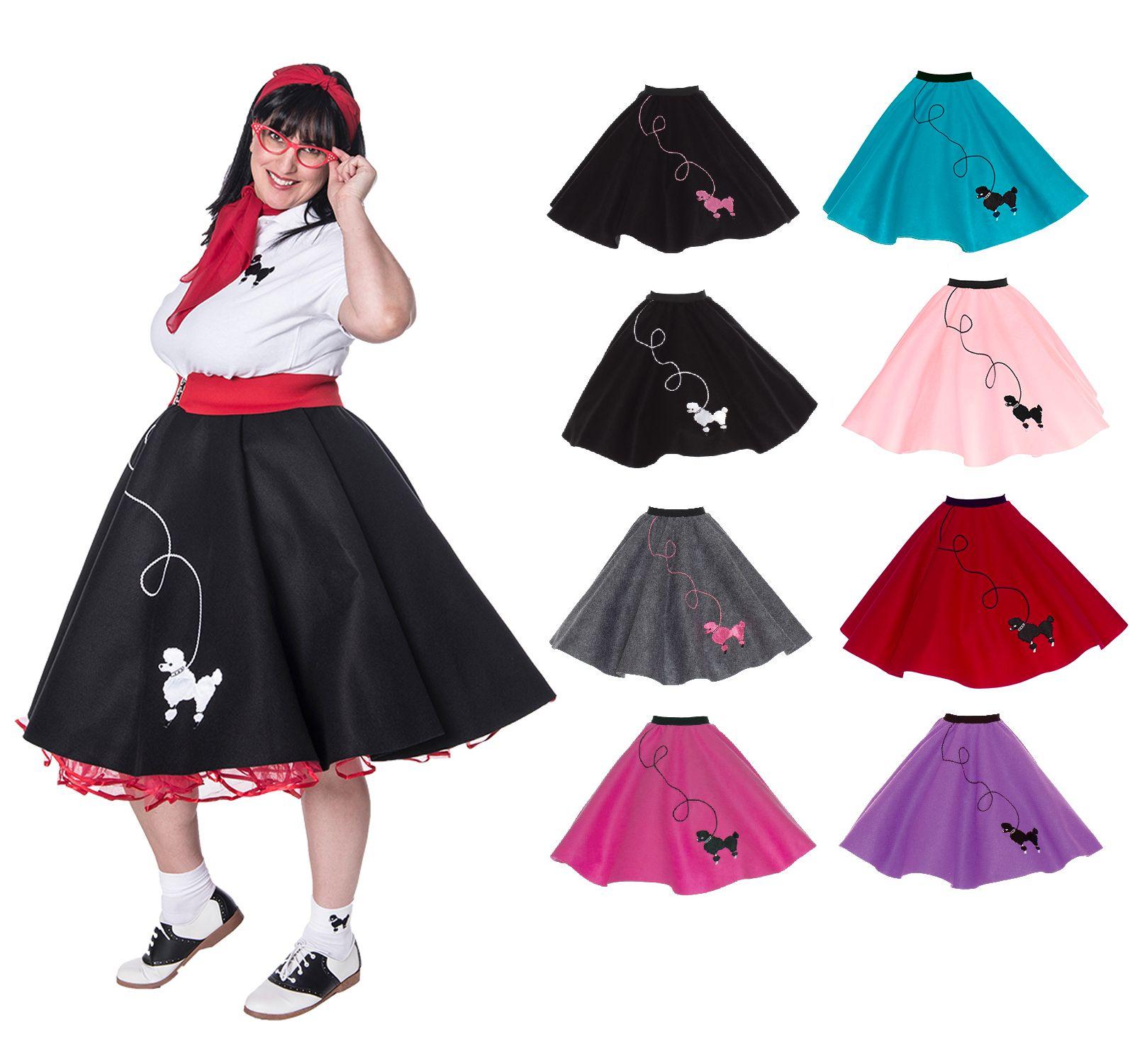 K127 Ladies 1950s Grease Poodle Rock and Roll Sock Hop Pink Ladies Dress Costume