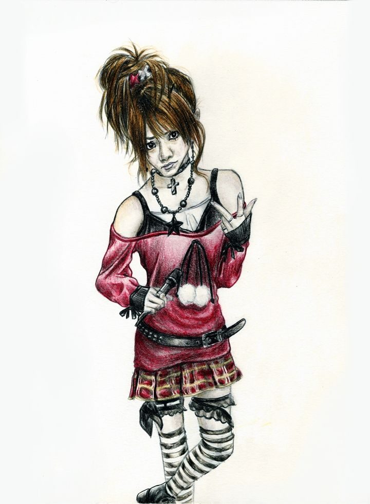 http://darkcloudxero.com/  Drawing of Tanaka Reina (ex Morning Musume member) back when I found out she was forming a rock band.