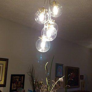 Waterfall Splash Mason Jar Chandelier, Handcrafted Hanging Spiral Lighting Fixture, Blue & Clear Jars, BootsNGus Lighting and Home Decor #jarchandelier