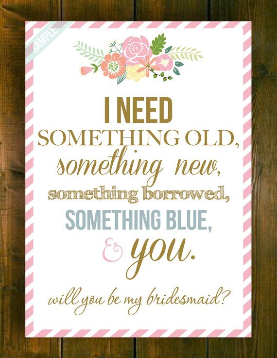 Will You Be My Bridesmaid Maid of by PrintablesMothership on Etsy - invitation quotes for freshers party