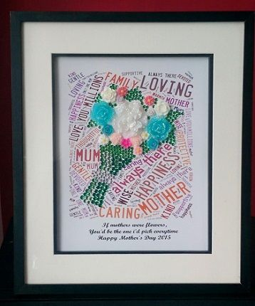 Wordart picture - framed - flower design