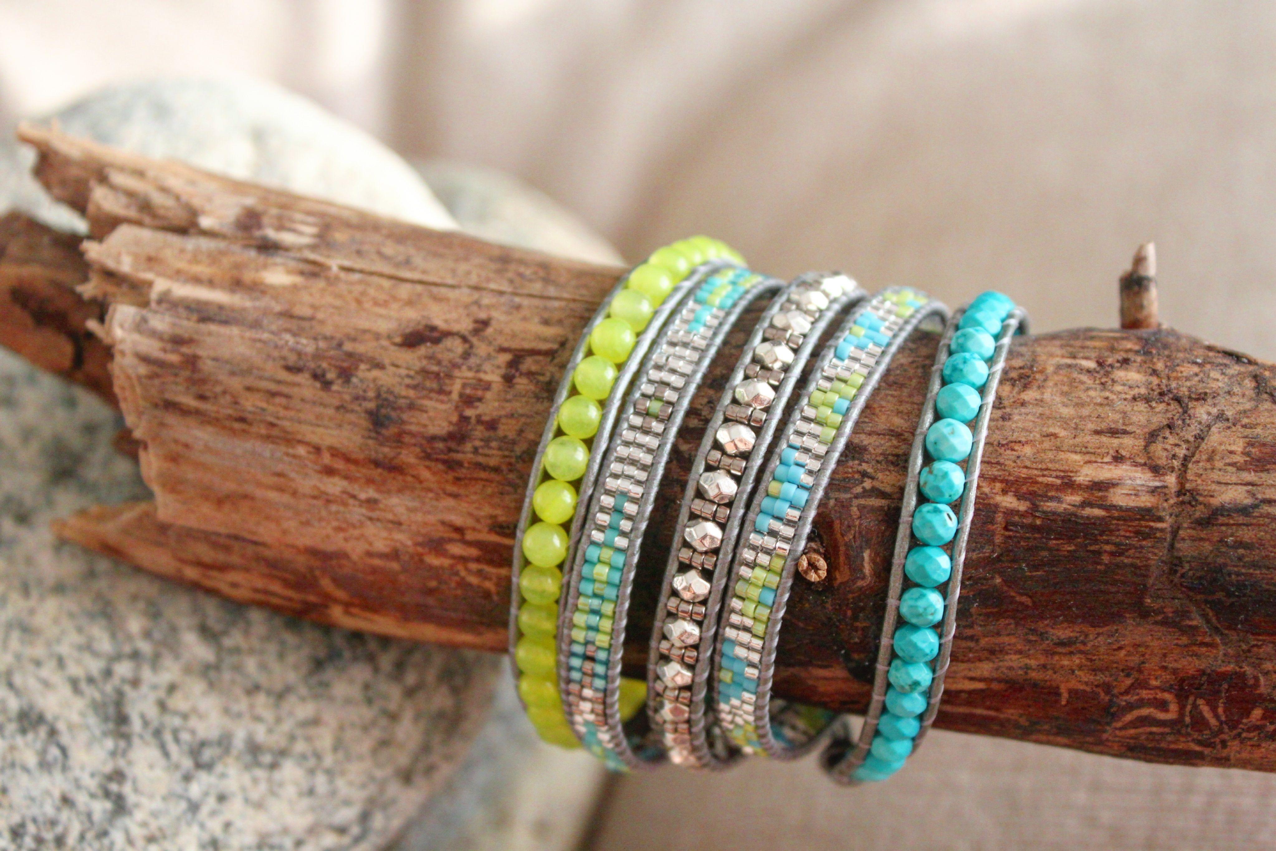 """Bracelet wrap d'Enjoy Wrap modèle """"Néon"""" en pierres semi prècieuses"""