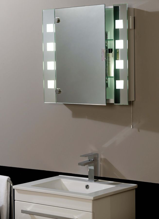 Bathroom Mirror With A Cabinet And Lights