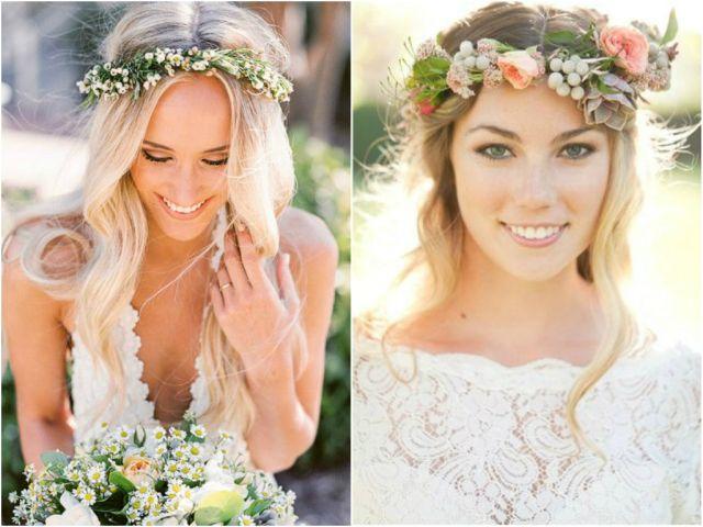 Simple Flower Crowns Wedding Long Hair