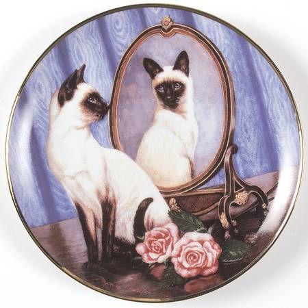 Franklin Mint Daphne Baxter Cats Siamese Twins No Box Siamese Cats Cat Online Cats
