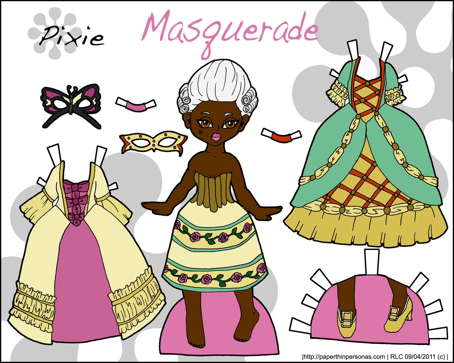 masquerade paper doll with two beautiful dresses and masks shes available in both black and white and full color black african american person of
