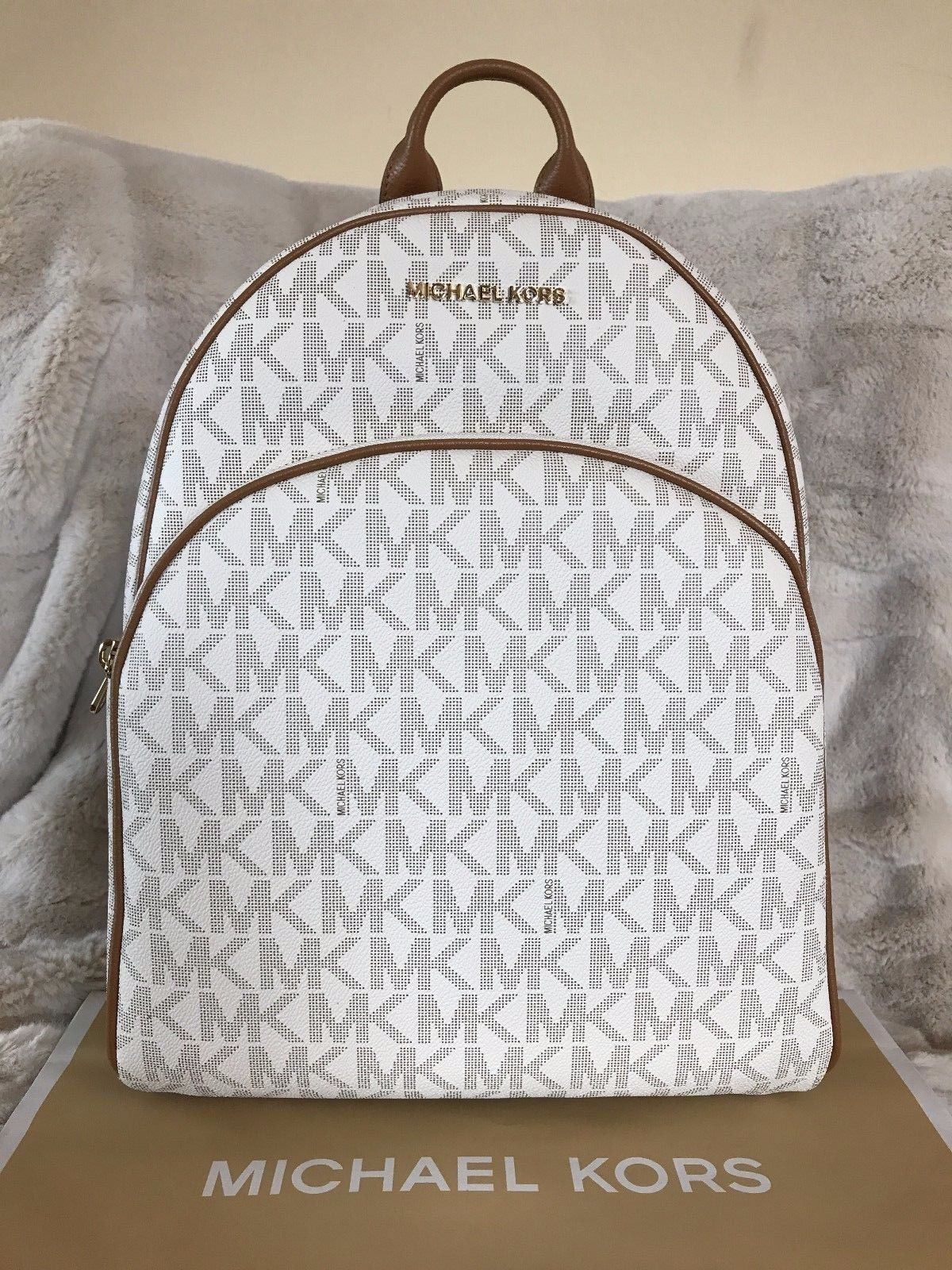 d0655eb9fd94 ... usa nwt michael michael kors signature pvc abbey large backpack bag in  vanilla acorn 189.99 https