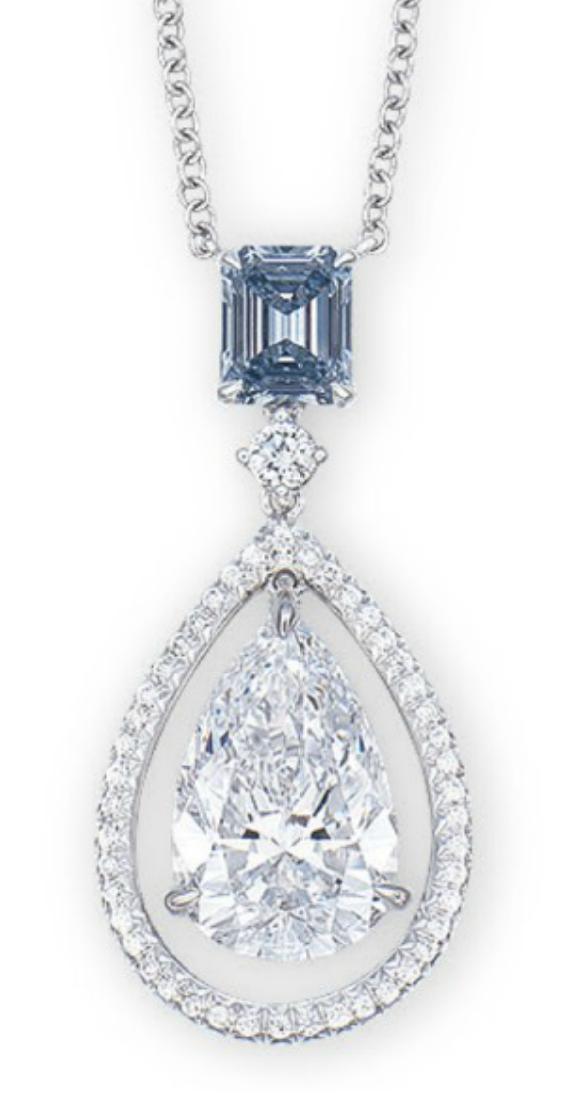 A Coloured Diamond And Diamond Pendent Necklace The Rectangular Shaped Fancy Intense Blue Diamond Weighing 0 56 Carat Su Diamond Pendent Jewelry Fine Jewelry