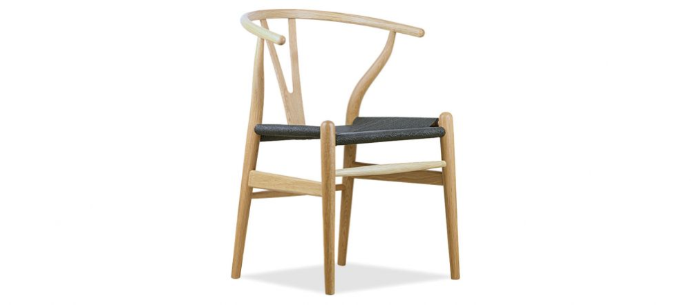 Wishbone (Y) Chair Oak Black Cord Chair, Furniture