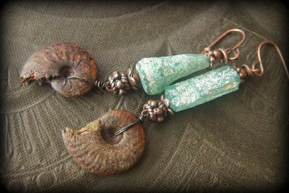 Ammonite,Ancient Roman Glass, Fossil, Primitive, Organic, Rustic, Tribal, Copper, Beaded Earrings