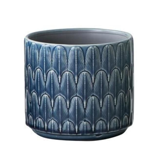 Photo of Nordic Ceramic Vase INS Green Flower Pot Desktop Gardern Plants Blue Embossed Home Decor Living Room Decoration вазы декор дома – feather 12cm